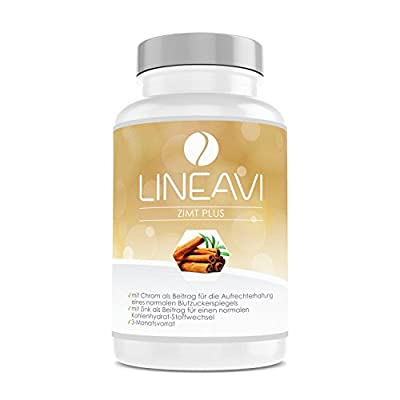 LINEAVI Cinnamon Plus • high-dose • 400 mg cinnamon, 7 mg zinc, 100 ?g chromium per day • blood sugar level, metabolism, weight loss, skin, hair • made in Germany • 180 capsules (3-month supply) from Soyan VitaMed Natur GmbH