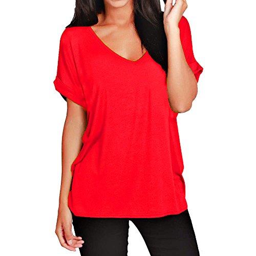 Damen-T-Shirt, lockere Passform, V-Ausschnitt, kurzärmelig, Top, 36-56 Gr. 50/52, rot