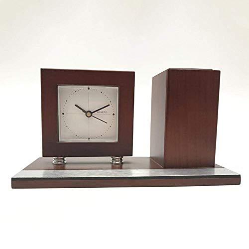 ZJZ Relojes de repisa, Reloj Cuadrado Reloj Cuadrado Simple Cara Reloj de Oficina de Negocios de Madera Maciza 20 * 9,1 * 10,8 cm