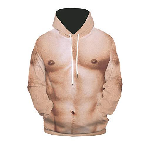 YXIU Herren Hoodie Herren Kapuzenpullover Ugly 3D Muskel Druck Kapuzenpullover, Winter Herbst Casual Pullover Hoodie Sweatshirt