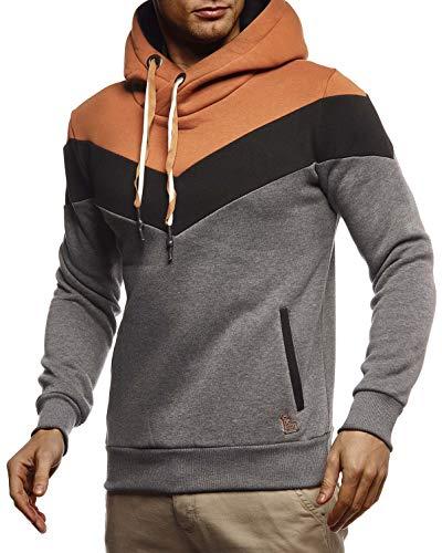 Leif Nelson Herren Hoodie Pullover mit Kapuze Kapuzenpullover für Männer Pulli Longsleeve Sweatshirt Langarm Slim Fit LN8295 Größe XXL Anthrazit