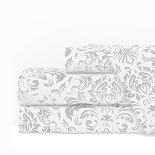 Egyptian Luxury 1600 Series Hotel Collection Damask Pattern Bed Sheet Set - Deep Pockets, Wrinkle and Fade Resistant, Hypoallergenic Sheet and Pillowcase Set - Queen - White/Light Gray