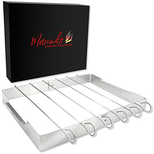 Marindo® BBQ Schaschlikspieße Edelstahl Set | Grillspieße Set: 6 Schaschlikspieße 31cm und Gestell | Grillspieße für Schaschlikgrill | Schaschlik Fleischspieße | Schaschlikspieße russisch
