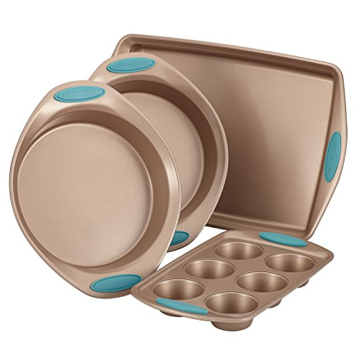 Rachael Ray 52389 Cucina Nonstick Bakeware Set with Grips includes Nonstick Cake Pans, Cookie Sheet / Baking Sheet and Muffin Pan / Cupcake Pan - 4 Piece, Latte Brown with Agave Blue Handle Grips