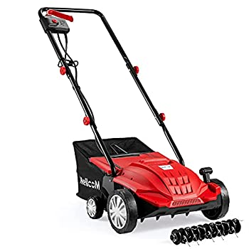 YOLENY 13 Inch Corded Electric Dethatcher 2 in 1 Electric Scarifier with 4 Working Heights,13.6 Amp Power Rake Dethatcher with Collection Bag Red