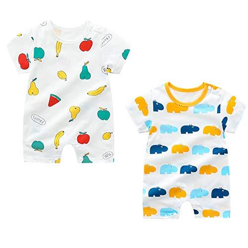 Treer Strampler Baby Mädchen und Jungs, 2 Stück Spielanzug 100% Baumwolle Sommer Babybody Baby Kurzarm-Body für Neugeborene Weich Short-Sleeve Bodysuits (73cm,Blaues Nilpferd)