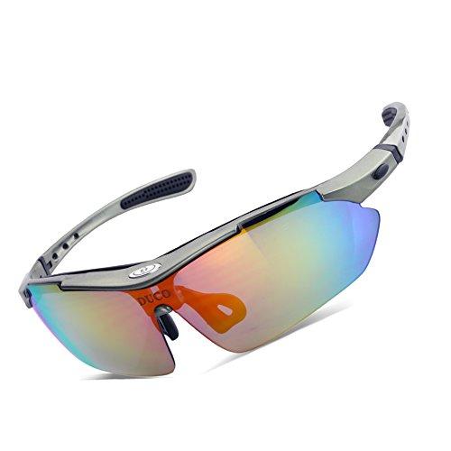 Duco Lunettes de Soleil polarisées pour Sports d'extérieur Lunettes avec Verres Interchangeable 5 Verres Lunettes professionelles pour Cyclisme UV400 SP0868