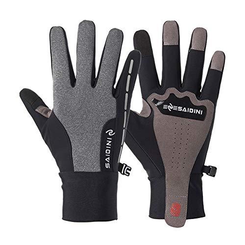 LLUVIAXHAN Winter-Handschuhe Touchscreen Handschuhe Fahrradhandschuhe warme Handschuhe verdicken für Klettern Ski Fahren Reiten Radfahren Laufen - Männer Frauen,Grau,S