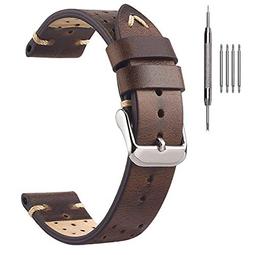 EACHE Correa de reloj perforada, correa de piel de Rally Racing, piel de vacuno encerada con aceite, 18 mm, 20 mm, 22 mm, Marrón Retro, 18 mm