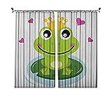 Cortinas plisadas con aislamiento térmico con animales, diseño de rana alegre príncipe con una corona y corazones, para travesaños y rieles, multicolor