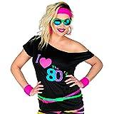 WIDMANN 29413 Moda de los años 80, para Adultos, Camiseta sin Mangas, I Love 80s, Disco Fieber, neón, Fiesta temática, Carnaval, Multicolor, S-M para Mujer
