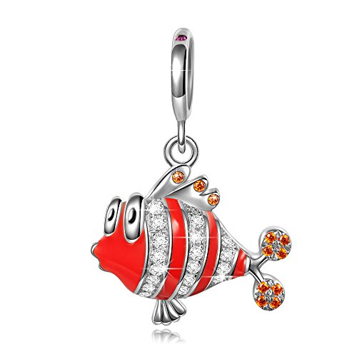 NINAQUEEN Charm fit Pandora Charms Clownfish Pendant Women's Jewellery Best Gifts with Jewellery Box 925 Sterling Silver Antibacterial Properties