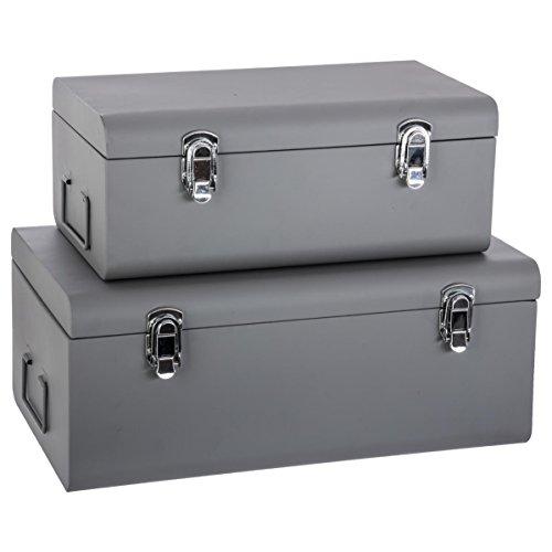 Atmosphera Conjunto de 2 cofres baúles de Almacenamiento en Metal - Estilo Comedor - Color Gris