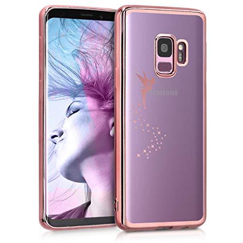 kwmobile Cover Compatibile con Samsung Galaxy S9 - Custodia Protettiva Cover in Silicone TPU Cristallo Trasparente - Back Cover Case Cellulare Fatina Oro Rosa Trasparente