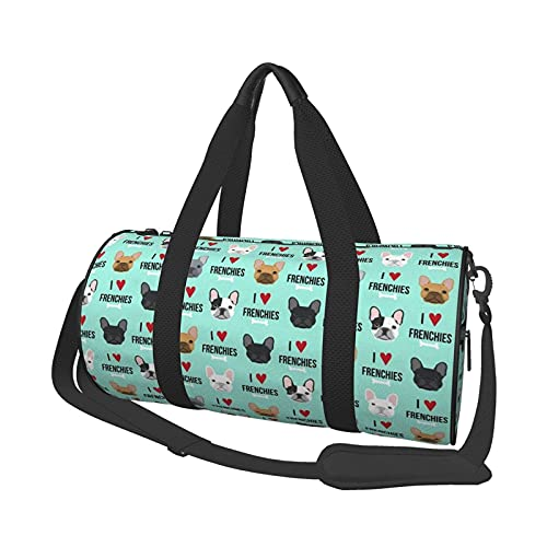 ARRISLIFE Gym Sports Bag,Unisex Potable Sport Duffel Bag Canvas Shoulder Bags Large Capacity Travel Duffels- Frenchie Dog I Love French Bulldogs Frenchie Face Aqua