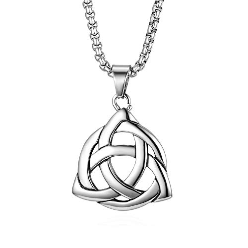Good Luck Irish Celtic Knot Triquetra Pendant Necklace,Cupimatch Stainless Steel Love Necklace Chain,22 inch