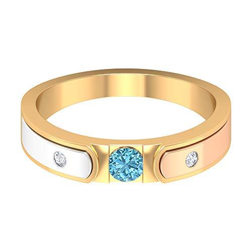 Anillo solitario de aguamarina de 3,50 mm, banda de diamante HI-SI de 1,60 mm, anillo de boda de oro de 3 tonos (calidad AAA), oro de 14 quilates, Metal, Diamond Aquamarine,