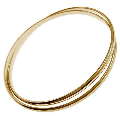 Pulsera de junco con 2 anillas, chapada en oro de 18 quilates, diámetro 62 mm, para mujer