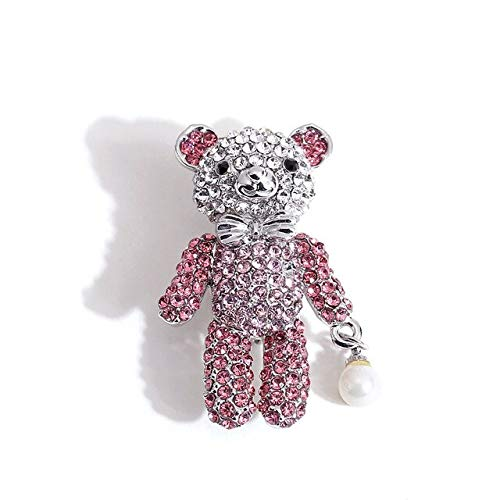 Cute Pins Collective Brooch Little Bear Pin Brooches Fashion Scarf Clip Broach with Crystal