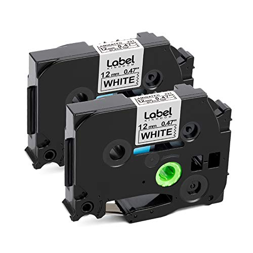 Label KINGDOM Compatible Label Tape Replacement for Brother TZe-231 TZ-231 Laminated P-Touch Label Maker Tape 12mm 0.47 Inch for PT-D210 PT-D200 PT-D400 PT-1280, 26.2 Feet 8m, Black on White, 2-Pack