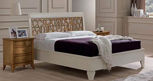 Dafne Italian Design Letto Matrimoniale Avorio,testiera con griglia Legno Chiaro, Vintage,...