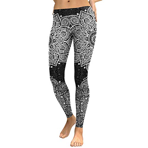 Ayujia Herbst Frauen Leggings Lotus Mandala Blume Digigal Print Leggins Workout Schwarz Weiß Mujer Plus Size Hosen
