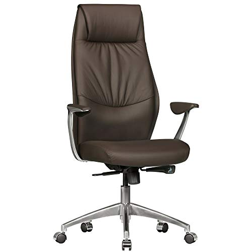 FineBuy Bürostuhl OXET1 Echt-Leder Braun Design Schreibtischstuhl Armlehne Chefsessel höhenverstellbar 120KG Drehstuhl Synchronmechanik Drehsessel hohe Polster Rücken-Lehne Kopfstütze ergonomisch