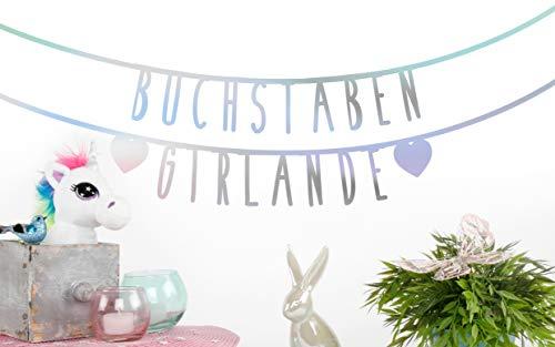 MIK Funshopping Individualisierbare Buchstaben-Girlande für Geburtstag Hochzeit Feier Party Junggesellenabschied aus Papier (Irisierend - 105 Zeichen)