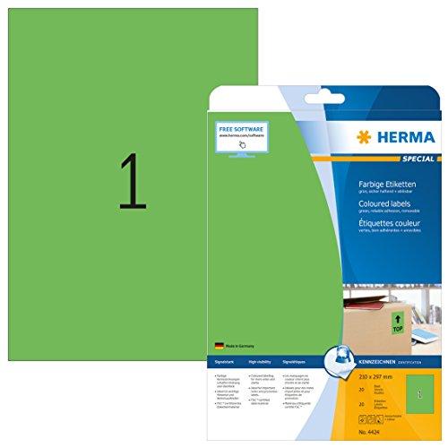 HERMA SuperPrint, Etichette senza bordo (210 x 297 mm), colore: Verde, 20 Pezzi