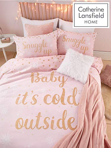 Catherine Lansfield Baby It's Cold Outside Set Copripiumino, Pile, Rosa, Singolo