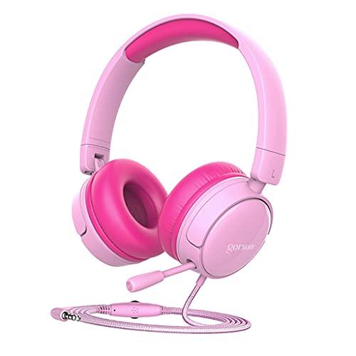 prasku Cuffie Over-Ear per Bambini Cuffie Pieghevoli Regolabili per Bambini Ragazze Ragazzi Adolescenti Donne per cellulari Computer Gaming Cancellazione del - Rosa