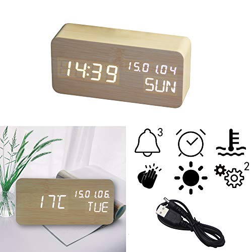 OFLILAK Wooden Digital Alarm Clock, 3 Levels Adjustable Brightness and Voice Control, Display Time Week Temperature Date for Bedroom Office Home(Bamboo)