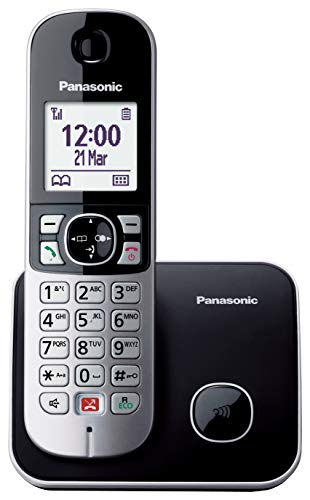 Panasonic KX-TG6851JTB Telefono Cordless DECT, Schermo LCD da 1.8', Base Design Sottile e Compatto, Nero
