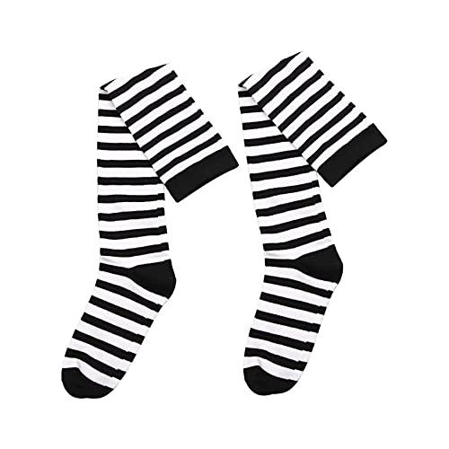 PJRYC Medias rayadas en Blanco y Negro Algodón cálido for Mujer Calcetines de la Rodilla de la Rodilla Sexy Muslo Alto Medias de otoño e Invierno (Color : A, Size : One Size)