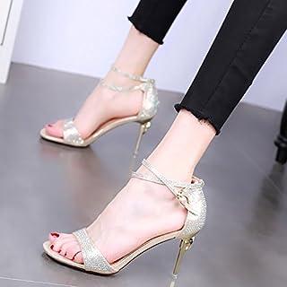 94dd2eabf9 KPHY-En Verano 9 Cm Zapatos De Tacon Alto Finos Tacones Moda Sandalias Dedos  De