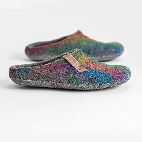 BureBure Damen Wolle Clogs Hausschuhe mit robusten Nähfläche COCOON Regenbogen