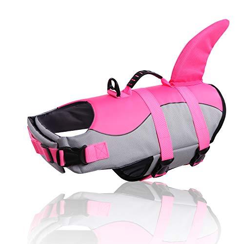 CITÉTOILE Dog Life Jacket Floatation, Pet Life Vest Haai Kostuum, Puppy Safety Vest voor Zwembad, Strand, Boating, XS-XL voor Kleine Medium grote Honden Training met Rescue Handvat, XXL, roze