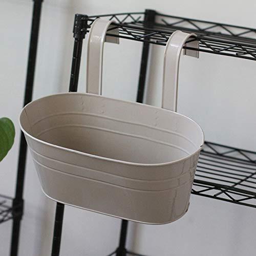 Wankd Hängetopf, 1PCS Metall-Blumentopf Balkon Hängetopf Geländertopf Vintage Oval Metall Blumentopf Vase Balkon Garten, Abnehmbar (Grey)