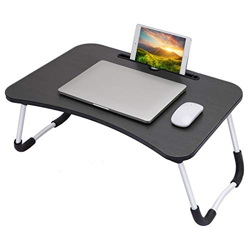 Upgraded Laptop Desk, Portable Laptop Bed Tray Table, Foldable Laptop Stand, Notebook Stand, Serving Tray Dining Table with Tablet Slot for Eating Breakfast, Reading, Watching Movie on Bed Couch Sofa