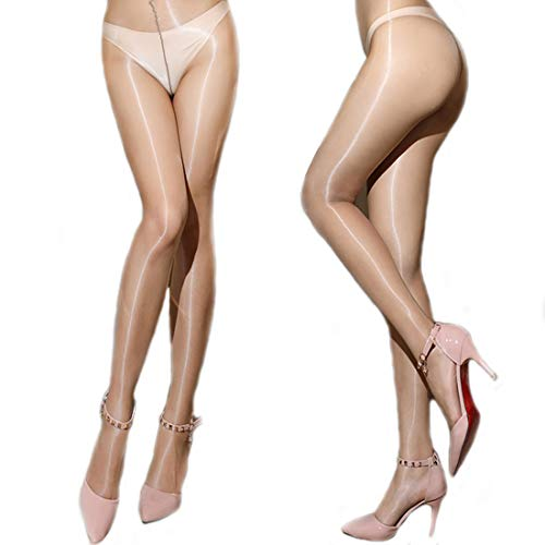 HTRUIYATY Frauen Ultra Silky Flash Sheer Strumpfhosen 1D Ultra Thin Panty Strümpfe Feinstrumpfhose mit Pünktchenmuster (Nackt)