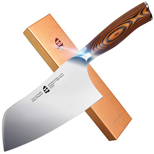 "TUO Cutlery Vegetable Meat Cleaver Knife - Chinese Chef's Knife - HC German Stainless Steel with Pakkawood Handle with Case - 7"" - Fiery Series"