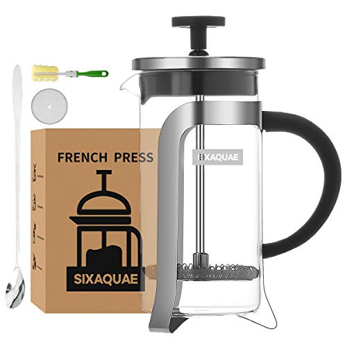 SIXAQUAE Kaffeebereiter French Press Kaffeepresse 350 ml Borosilikatglas Kolben Kaffeemaschine Edelstahl Manueller Filter