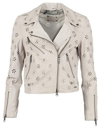 Maze Damen Lederjacke Leicht Tailliert Flower Grey M grau