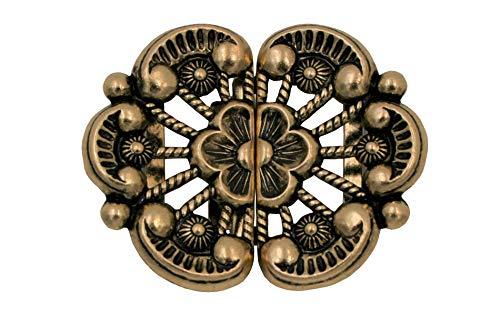 Hartmann-knopen bloesemvormig klein goud oudgoud klederdrachtsluiting bloem schorten dirndl gesp metalen 42 mm x 34 mm, Made in Germany, (1 stuks)