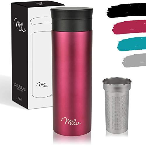 Milu Taza aislante de café y té para llevar - 350ml, 450ml 100% a prueba de fugas - acero inoxidable para beber - vaso de aislamiento al vacío - Caliente y frío - Taza de viaje (450ml, Berry)