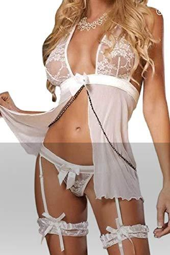 JFAN Conjuntos de Lencería para Mujer Vestido De Dormir De Encaje Transparente con Tanga Ligas y Ligueros