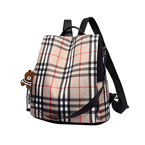 Korean Style College Anti-theft Plaid Backpack Purse for Women Travel Daypack Shoulder Bag