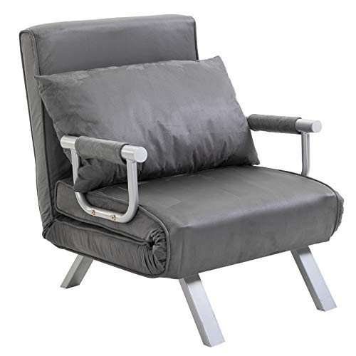 HOMCOM Single Person Folding 5 Position Steel Convertible Sleeper Bed Chair - Grey