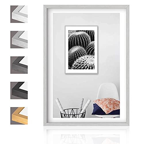 Aibesser Cornice portafoto argento 21 x 30 cm/A4, cornice in alluminio, in MDF con vetro acrilico, da appendere in orizzontale e verticale