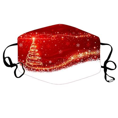 TriLance - 1 protector bucal para adultos multifunción, 3 capas, diseño de dibujos de Navidad, resistente al polvo y transpirable